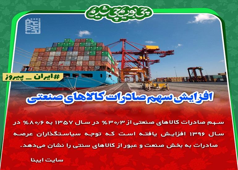 افزایش سهم صادرات کالاهای صنعتی