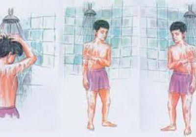 غسل ترتیبی جهت شستن بدن